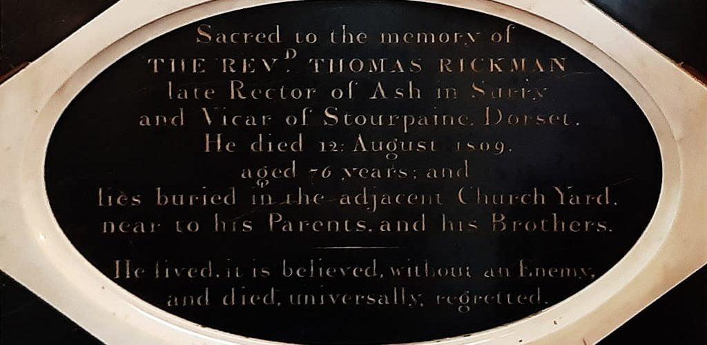 Thomas Rickman memorial plaque